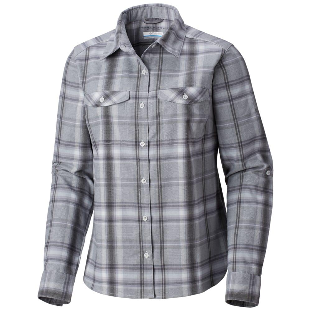 COLUMBIA Women's Silver Ridge Long-Sleeve Flannel Shirt - 031-CIRRUS GREY