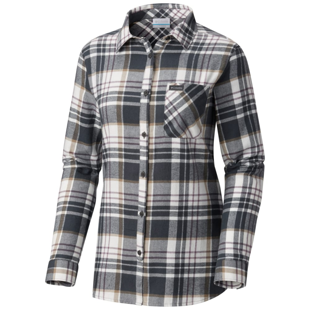 COLUMBIA Women's Simply Put II Long-Sleeve Flannel Shirt - 011-SHARK PLAID