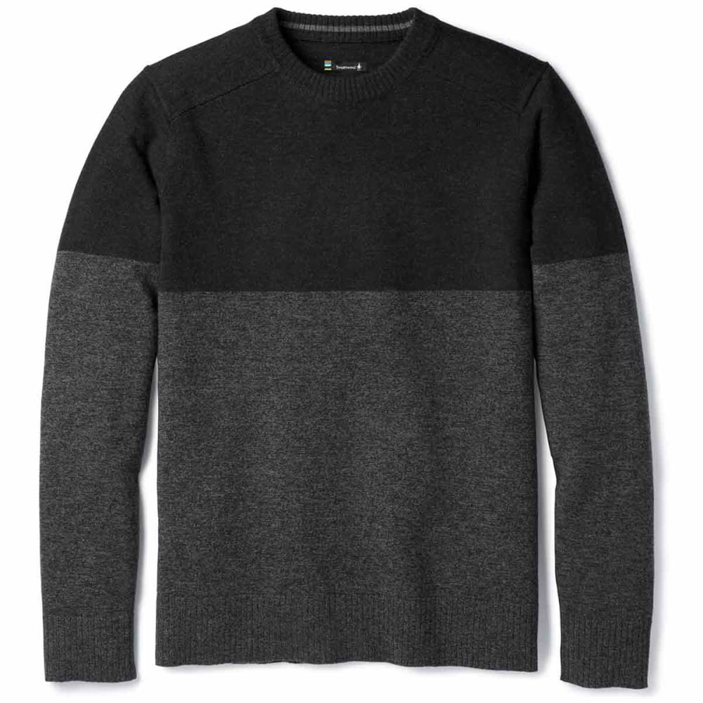 SMARTWOOL Men's Sparwood Colorblock Crew Sweater - 010-CHARCOAL HEATHER