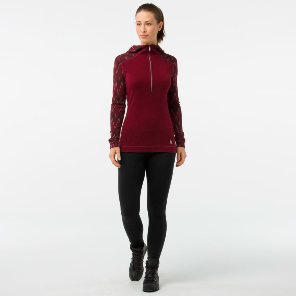 SMARTWOOL Women's Merino 250 ½-Zip Hoodie Base Layer - A25-TIBETAN RED