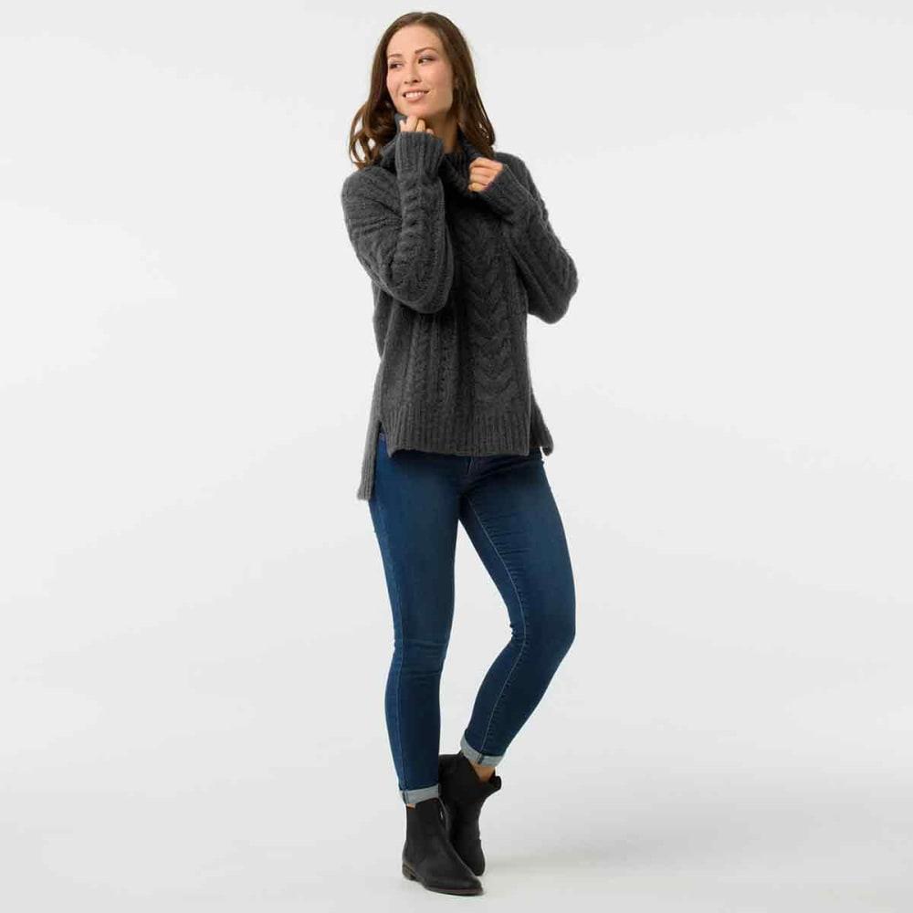 SMARTWOOL Women's Moon Ridge Boyfriend Sweater - 003-CHARCOAL