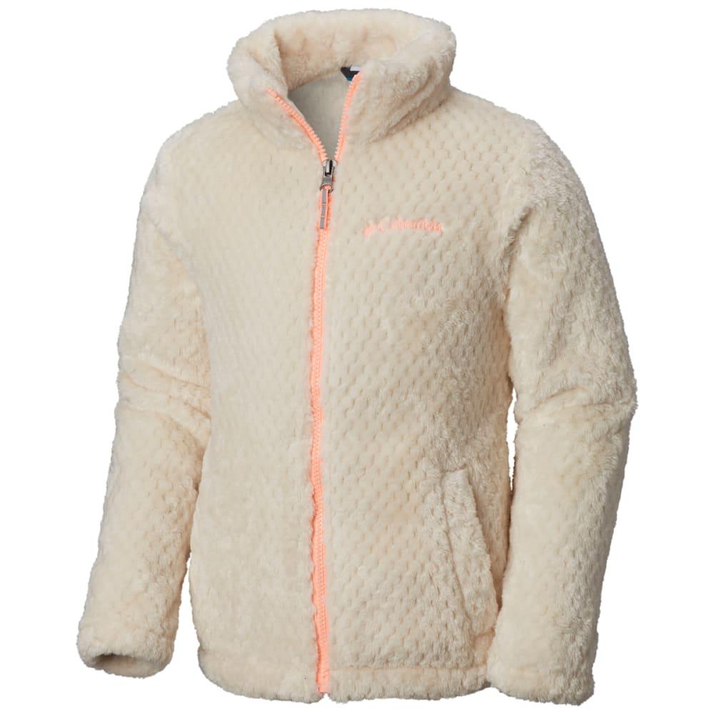COLUMBIA Big Girls' Fluffy Fleece Full-Zip Jacket - 191-CHALK TIKI PINK