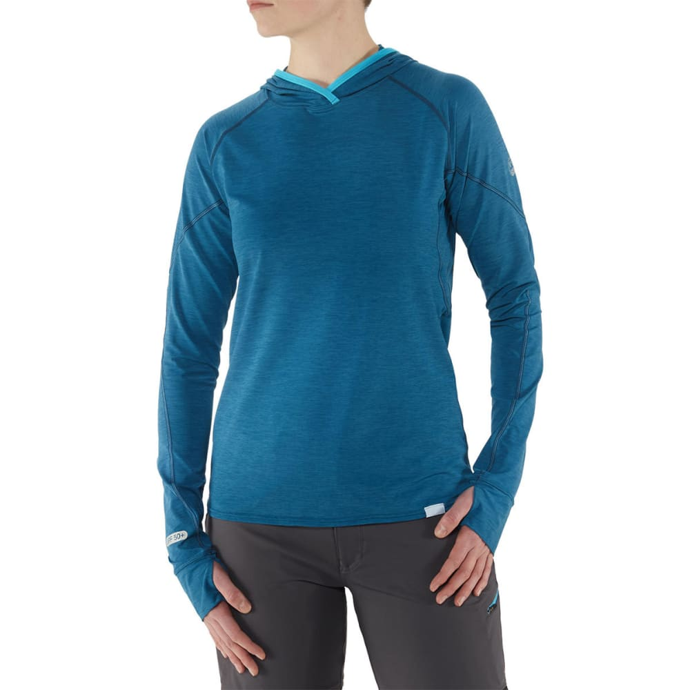 NRS Women's H2Core Silkweight Paddling Hoodie - MOROCCAN BLUE