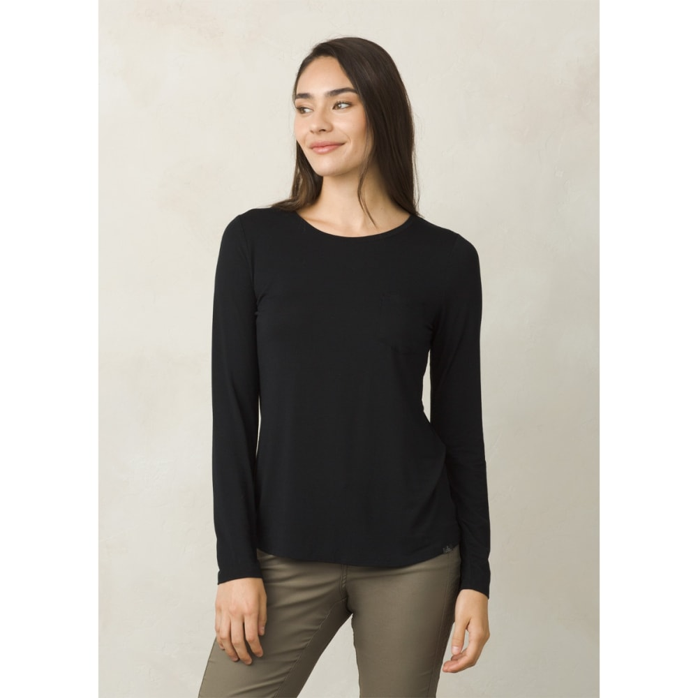 PRANA Women's Foundation Long-Sleeve Crew Neck Top - BLACK