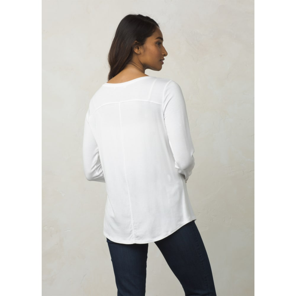 PRANA Women's Foundation Long-Sleeve Crew Neck Top - WHITE