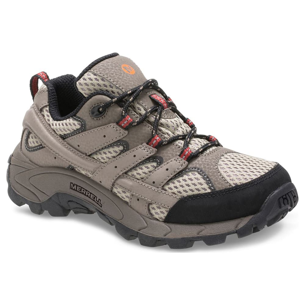 MERRELL Big Boys' Moab 2 Low Lace-Up Waterproof Hiking Shoes - BARK BROWN