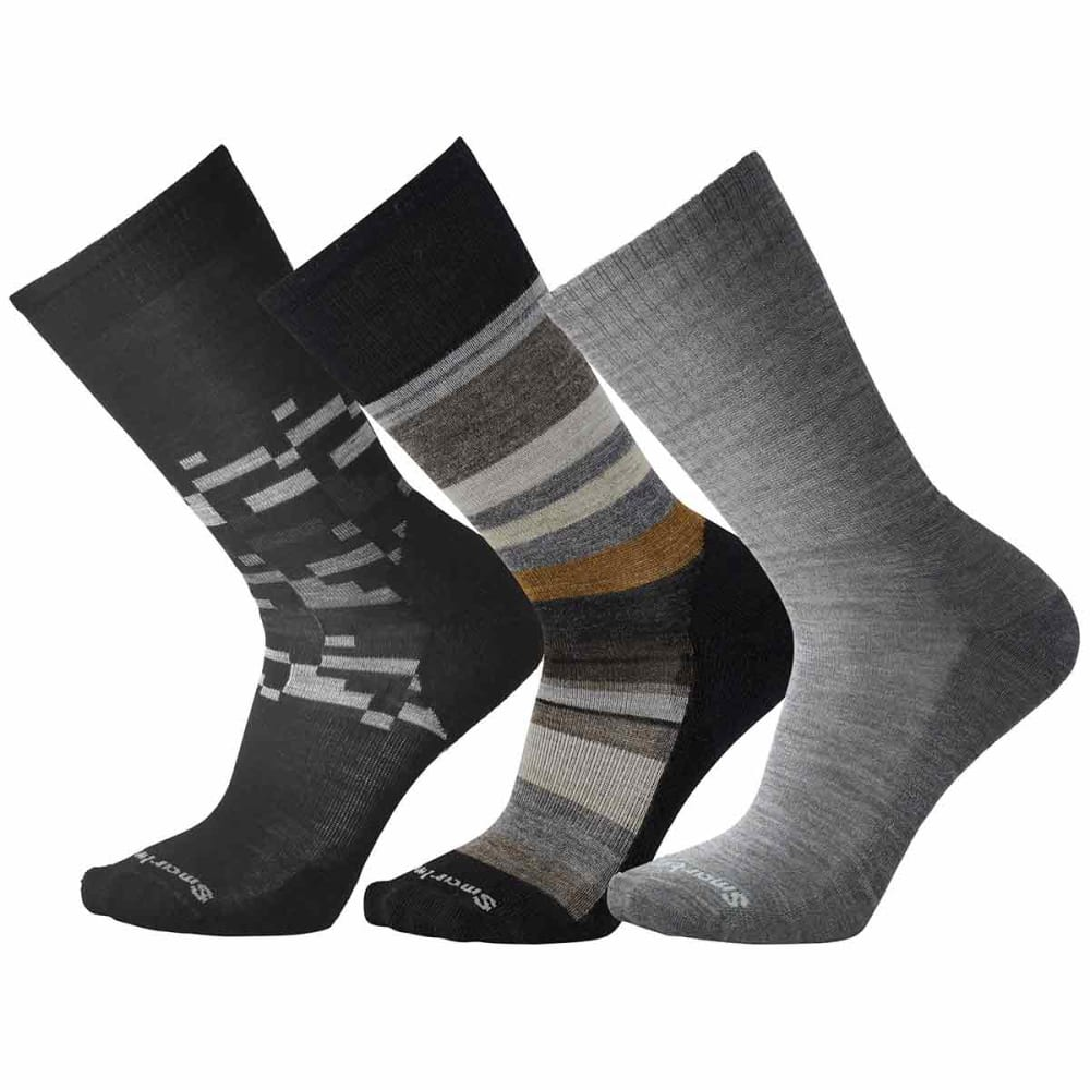SMARTWOOL Men's Trio 2 Socks, 3-Pack - 001-BLACK