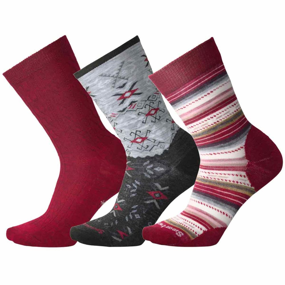 SMARTWOOL Women's Trio 2 Socks, 3-Pack - A14-TIBETAN RED