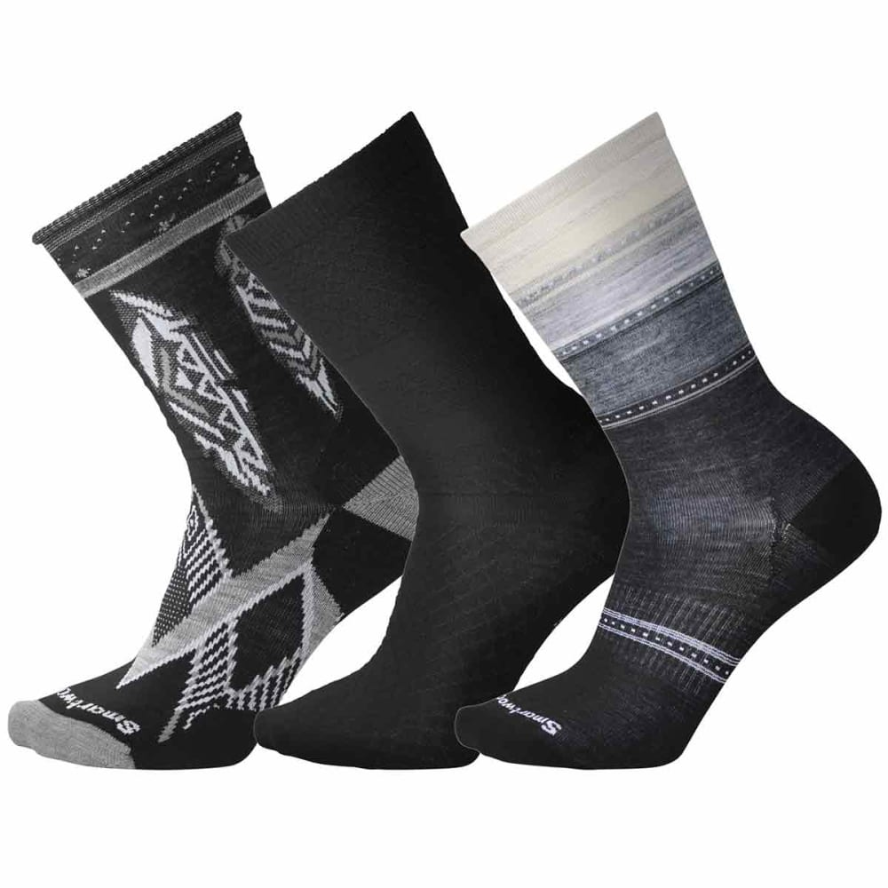 SMARTWOOL Women's Trio 4 Socks, 3-Pack - 001-BLACK