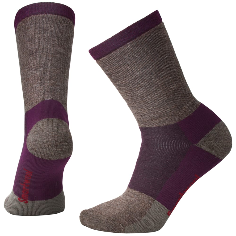 SMARTWOOL Women's Striped Hike Medium Crew Socks - 590-BORDEAUX