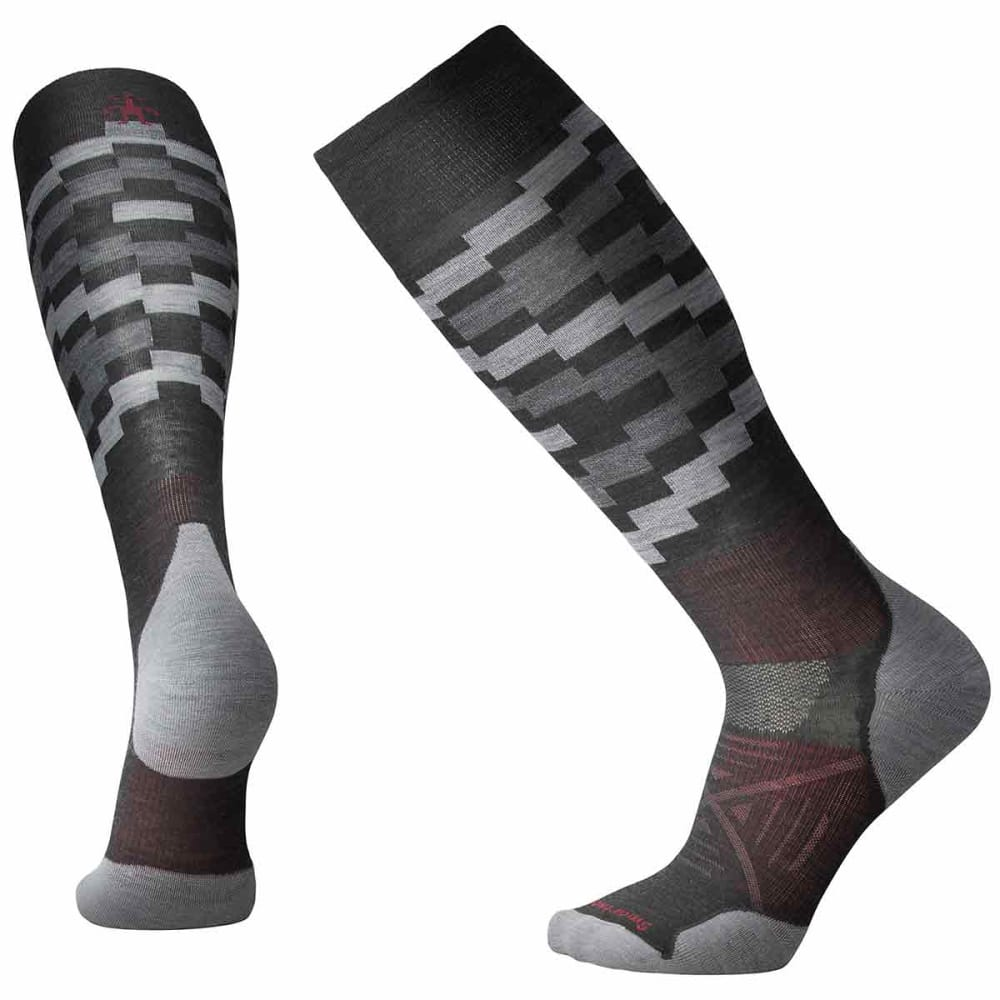 SMARTWOOL Men's PhD Ski Light Elite Pattern Socks - 003-CHARCOAL