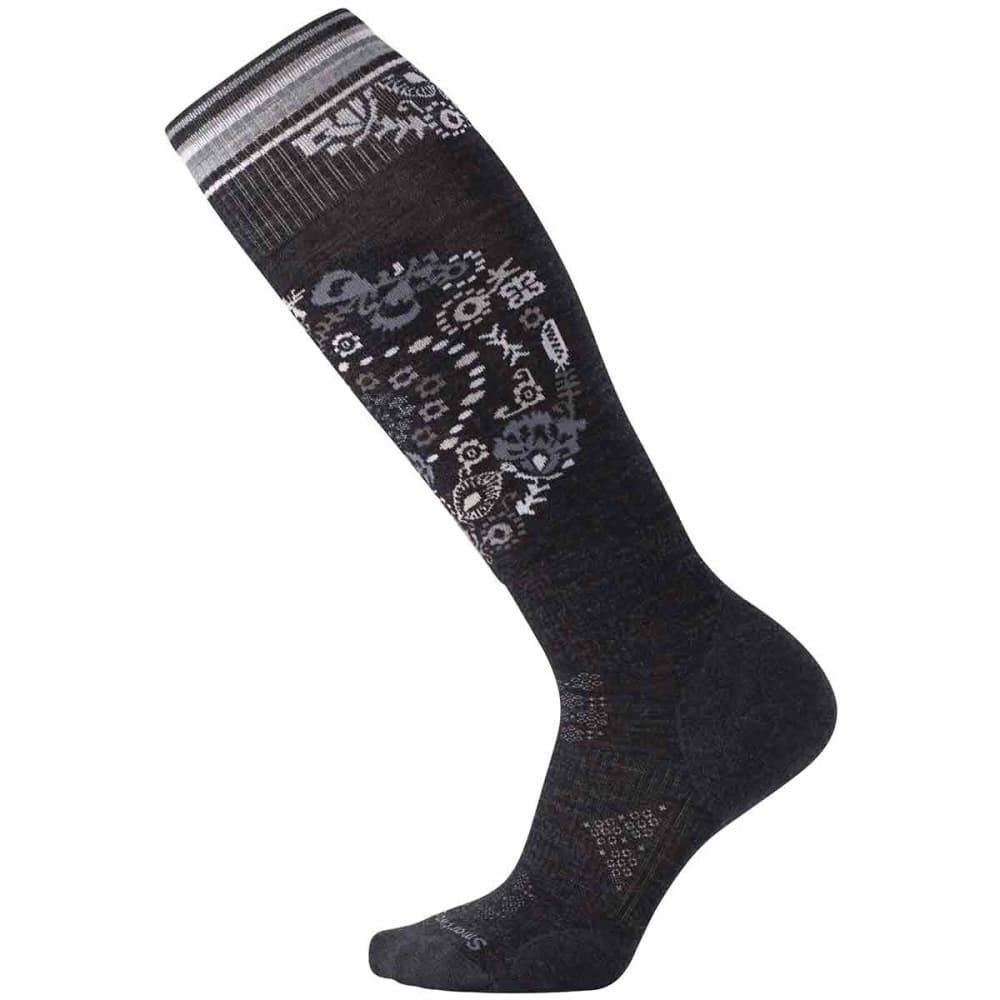 SMARTWOOL Women's PhD Ski Light Elite Pattern Socks - 003-CHARCOAL