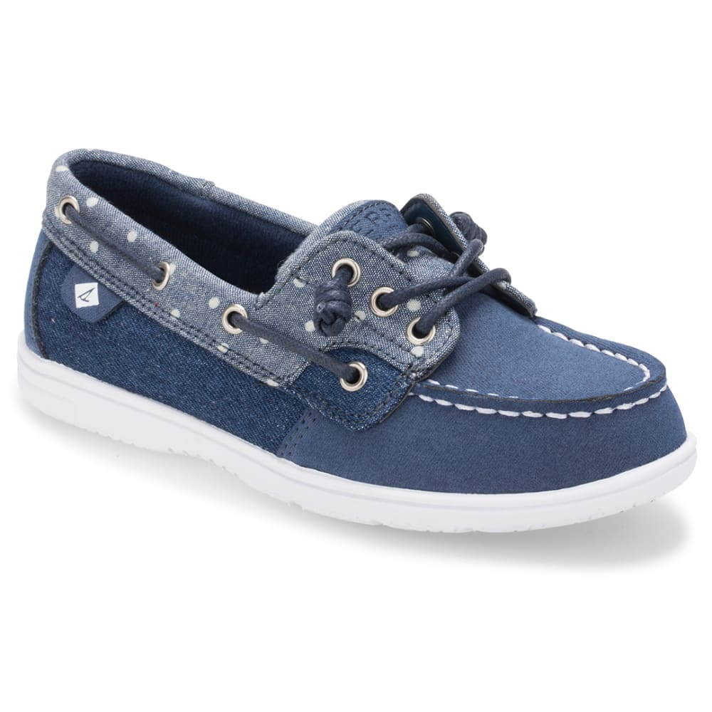 SPERRY Girls' Shoresider 3-Eye Denim Boat Shoes - DENIM