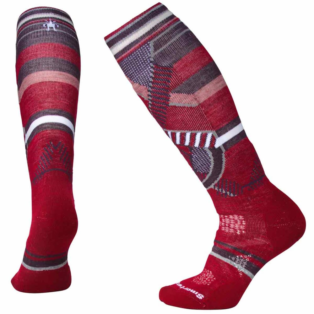 SMARTWOOL Women's PhD Ski Medium Pattern Socks - A25-TIBETAN RED