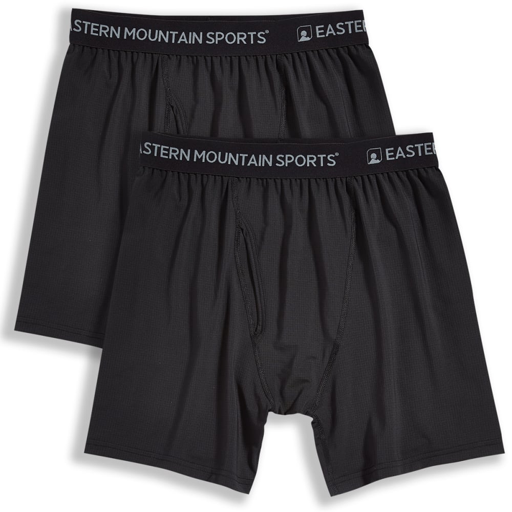EMS Men's Techwick Boxer Briefs, 2 Pack - BLACK/BLACK