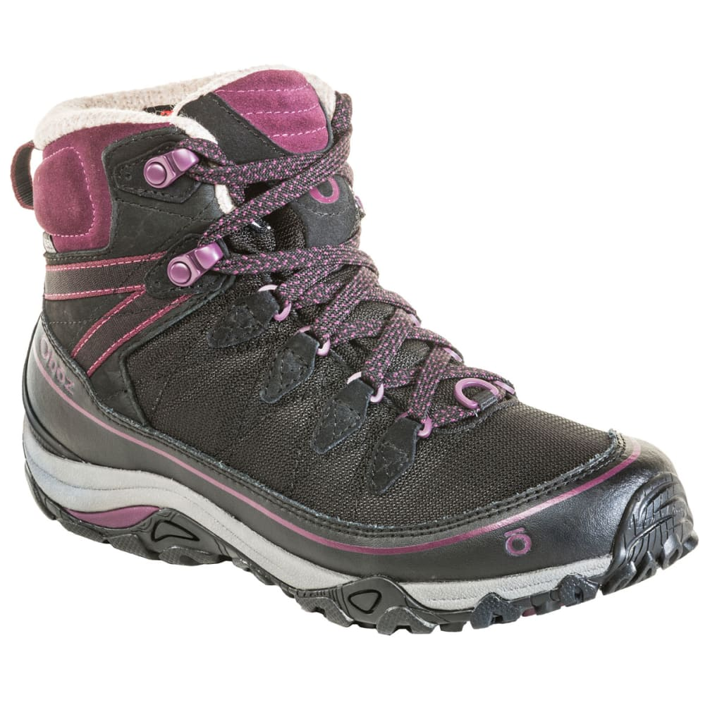 OBOZ Women's 6 in. Juniper Insulated Waterproof Mid Hiking Boots - ECLIPSE BLK/BEET