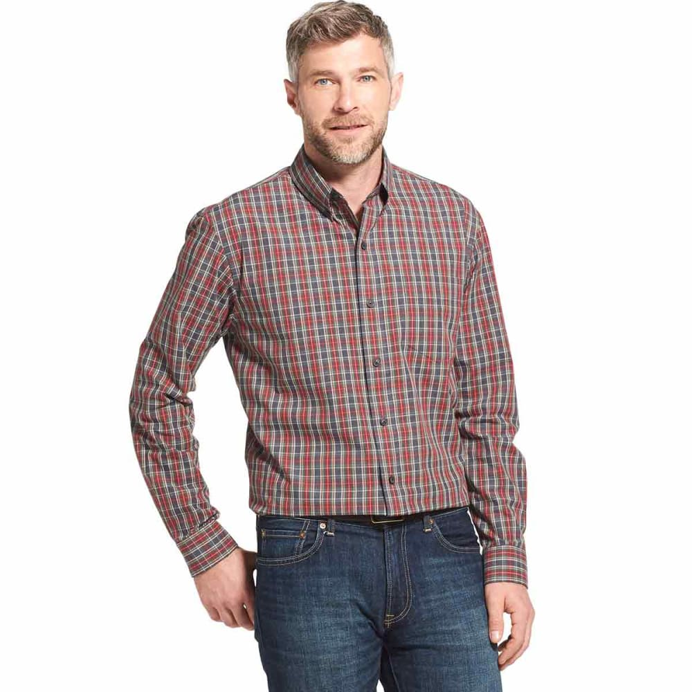 ARROW Men's Blazer Plaid Poplin Woven Long-Sleeve Shirt - STEEL GREY HTR - 037
