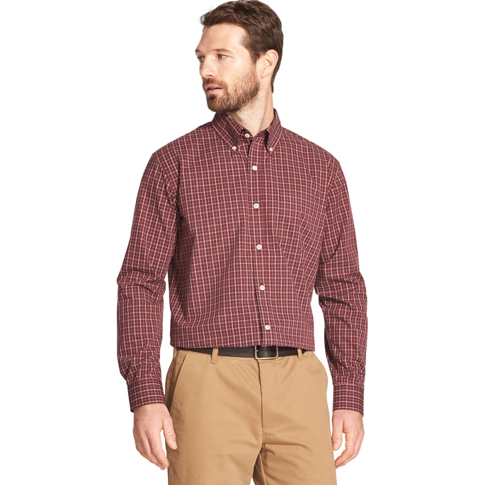 ARROW Men's Hamilton Plaid Poplin Long-Sleeve Shirt - TAWNY PORT -600