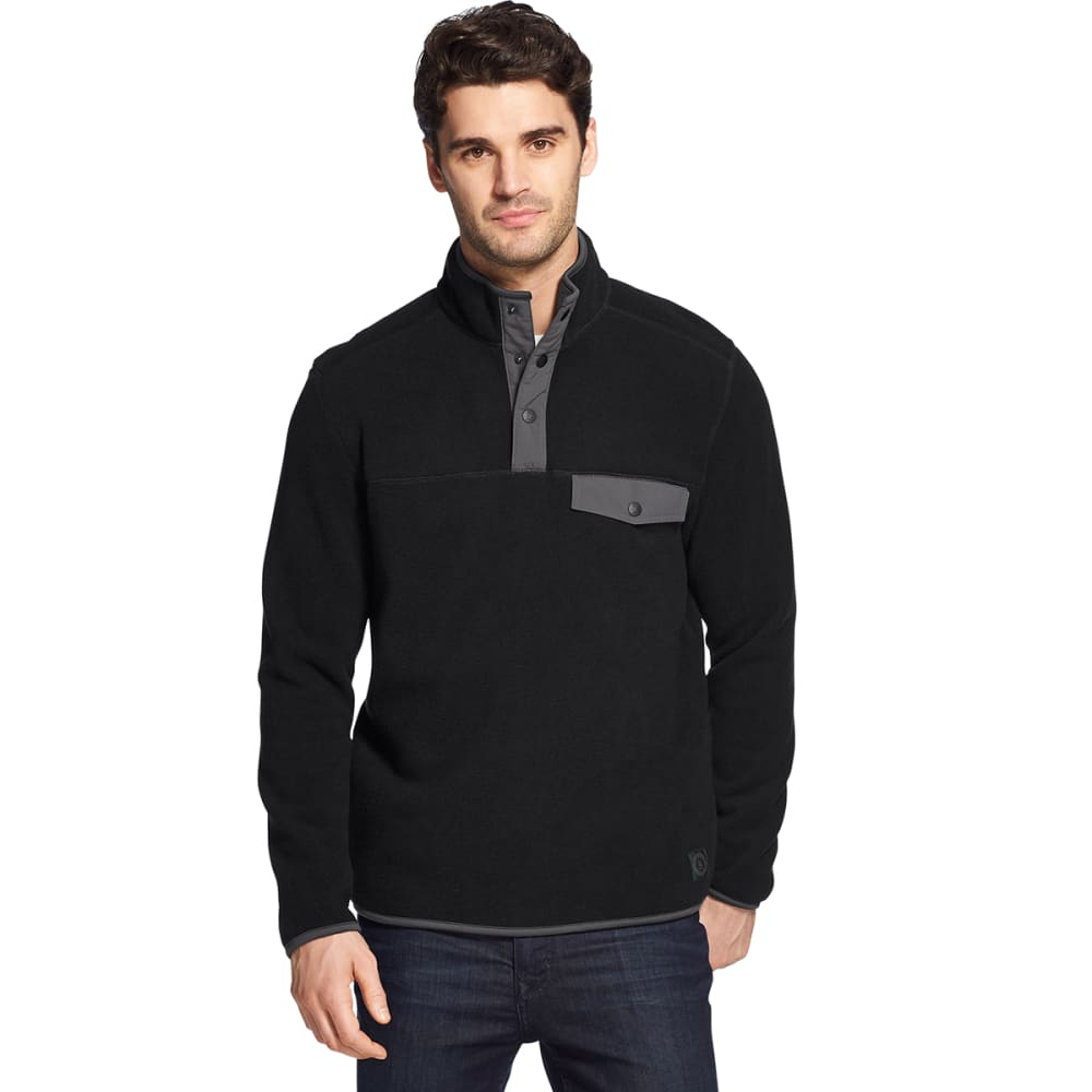 G.H. BASS & CO. Men's Arctic Fleece Snap Placket Pullover - BLACK HTR -027
