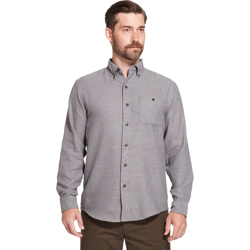 G.H. BASS & CO. Men's Jaspe Solid Long-Sleeve Flannel Shirt - CASTLEROCK HTR -065