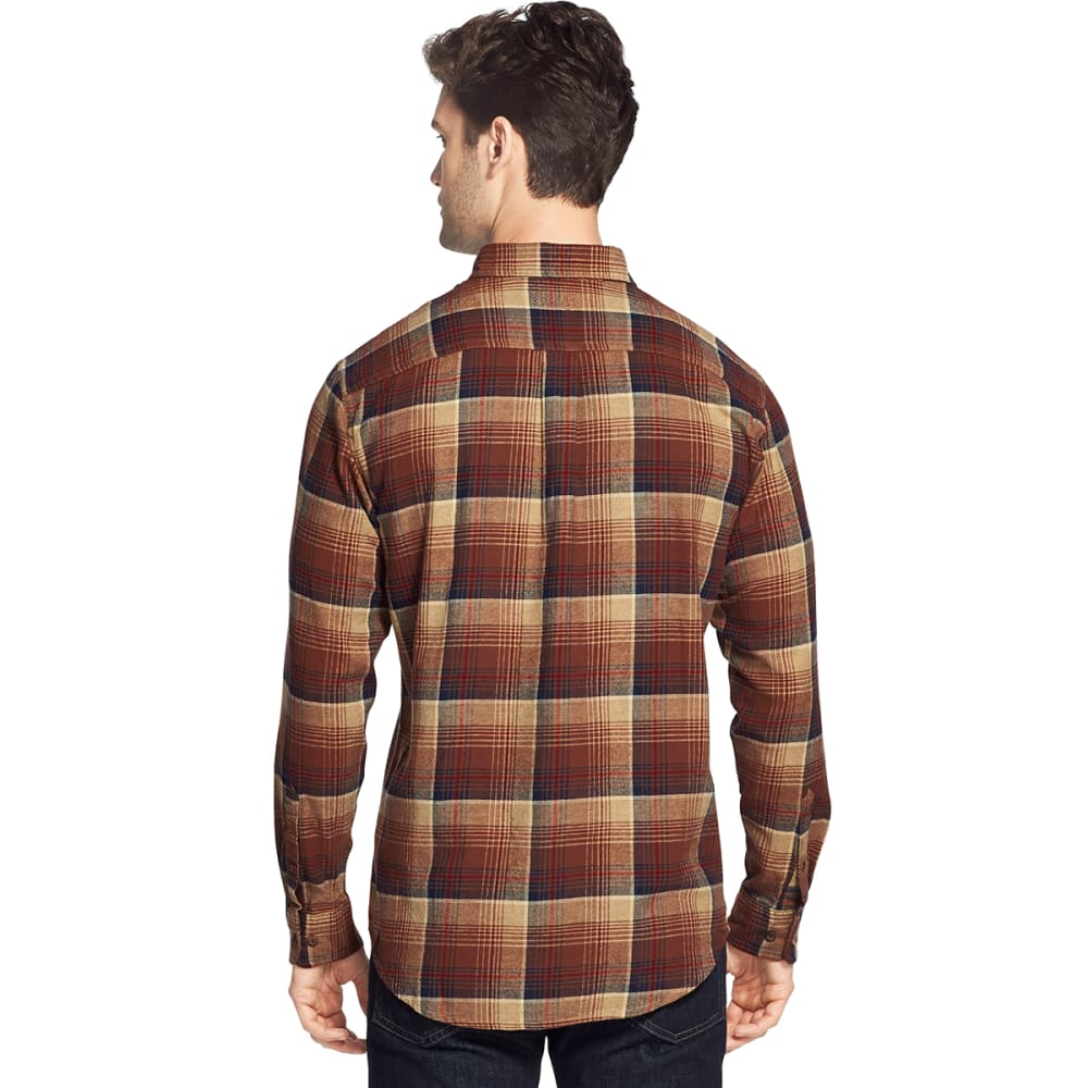 G.H. BASS & CO. Men's Fireside Long-Sleeve Flannel Shirt - BRUNETTE -201