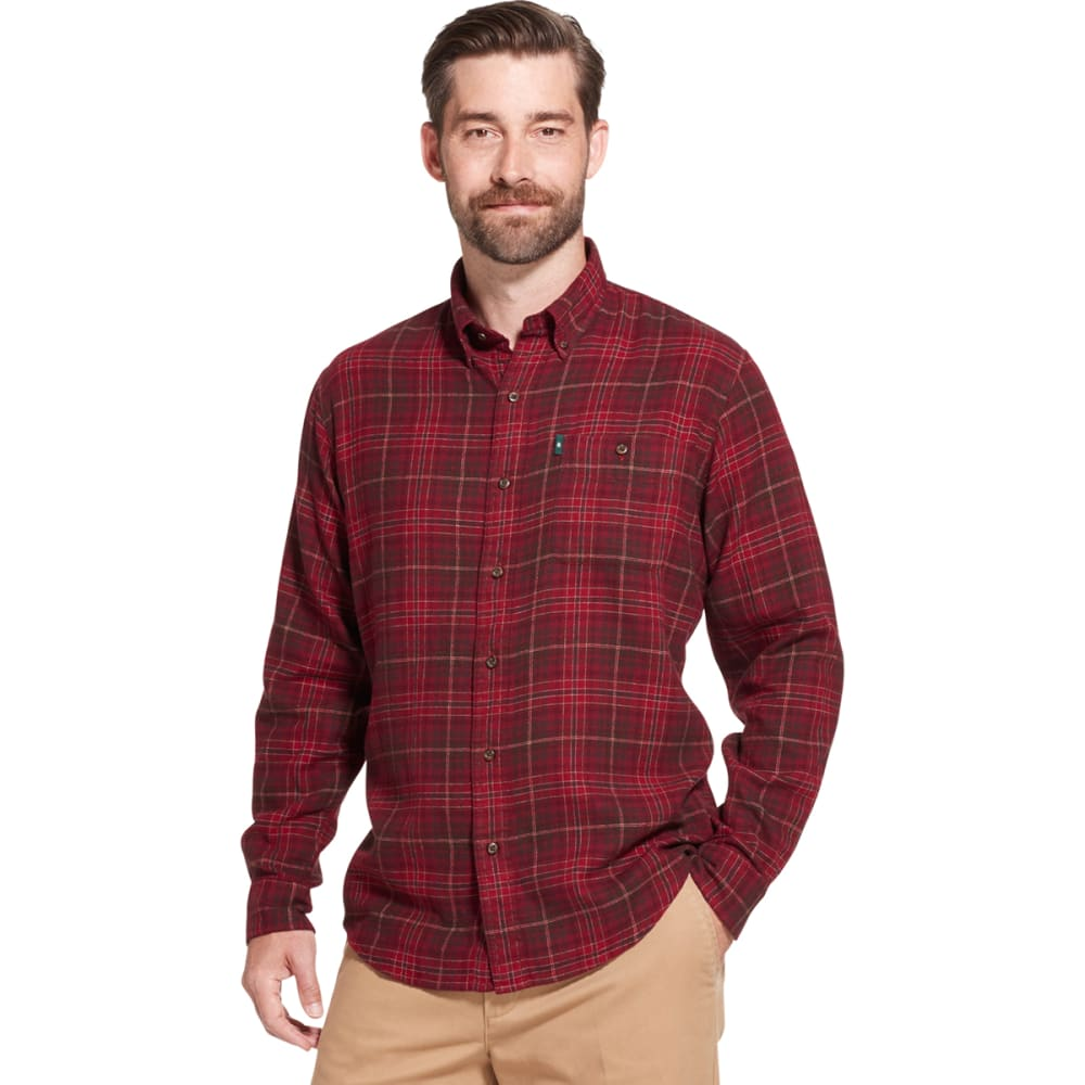 G.H. BASS & CO. Men's Fireside Long-Sleeve Flannel Shirt - RHUBARB -605