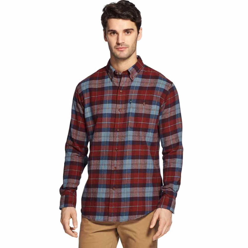 G.H. BASS & CO. Men's Fireside Long-Sleeve Flannel Shirt - RUSSET BROWN -227