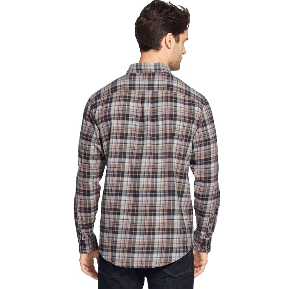 G.H. BASS & CO. Men's Fireside Long-Sleeve Flannel Shirt - ASPHALT -011