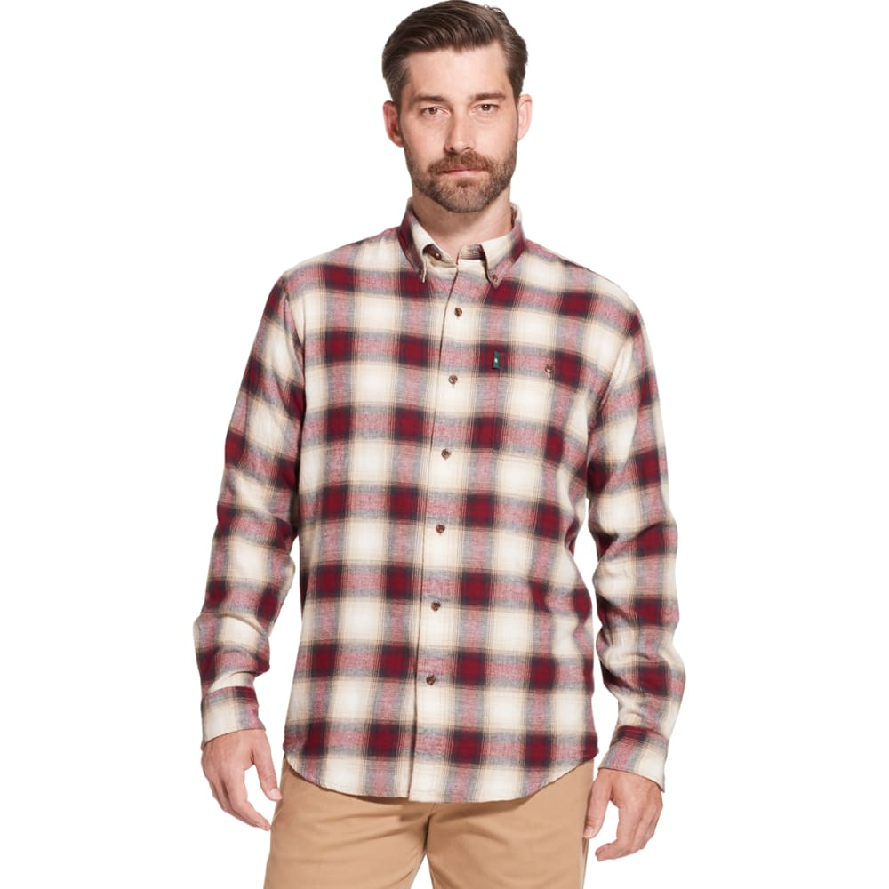 G.H. BASS & CO. Men's Fireside Long-Sleeve Flannel Shirt - BONE WHITE -271