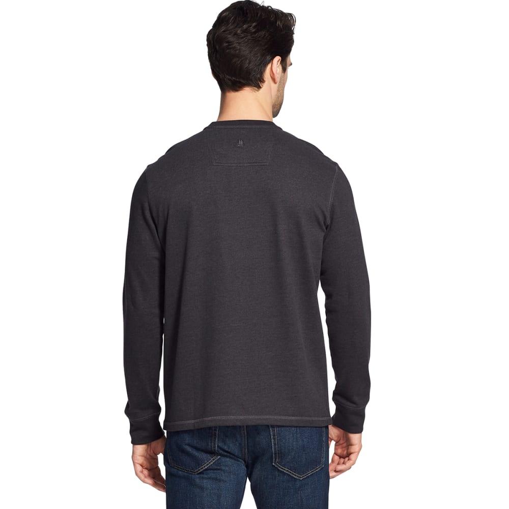 G.H. BASS & CO. Men's Carbon Plaited Jersey Long-Sleeve Henley - BLACK HTR -027