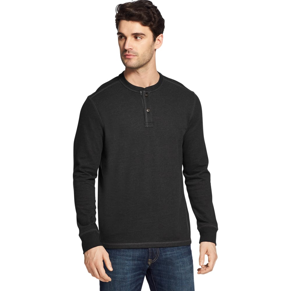 G.H. BASS & CO. Men's Carbon Plaited Jersey Long-Sleeve Henley - BLACK HTR -027