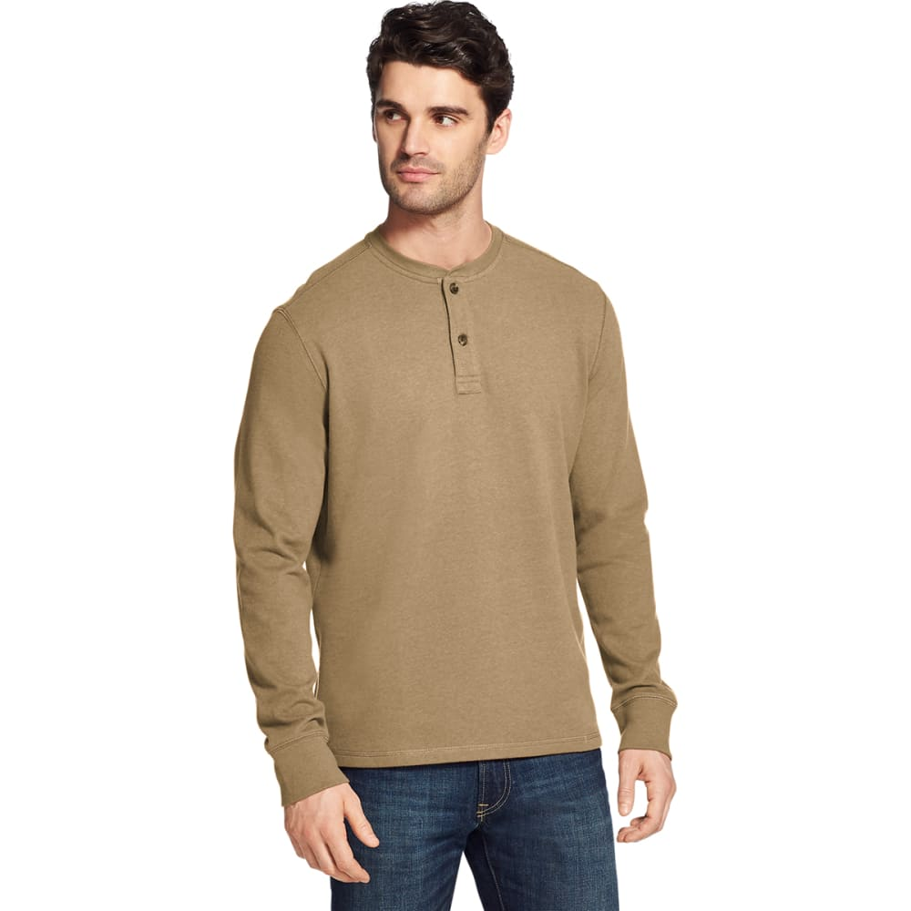 G.H. BASS & CO. Men's Carbon Plaited Jersey Long-Sleeve Henley - INCENSE HTR -242