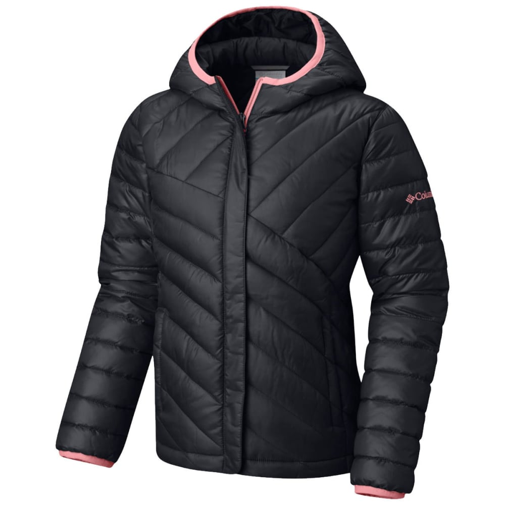 COLUMBIA Big Girls' Powder Lite Puffer Jacket - BLACK/TIKI PINK-014