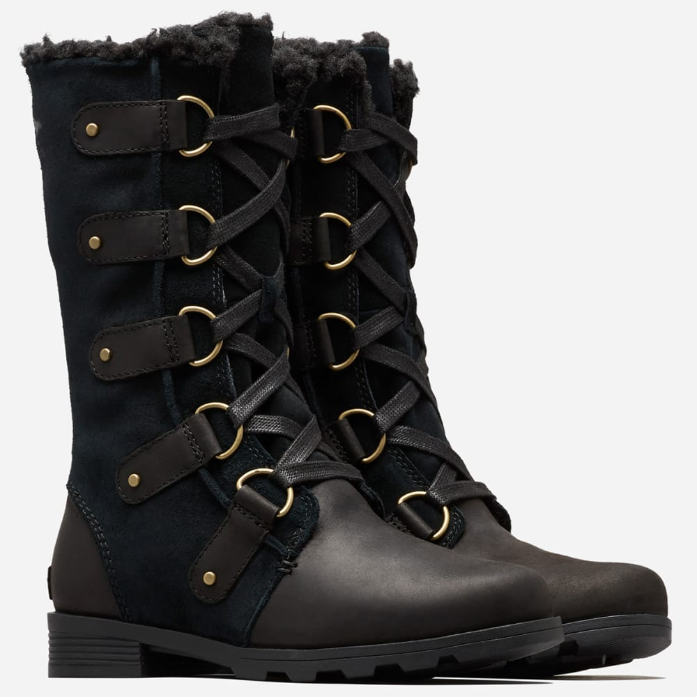 SOREL Women's Emelie Lace Waterproof Boots - BLACK -010