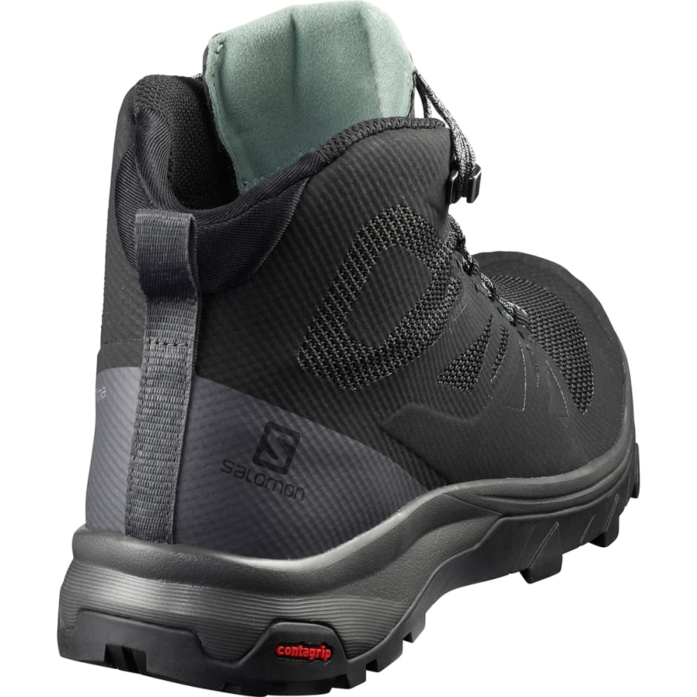 SALOMON Women's Outline Mid GTX Waterproof Hiking Boots - BLACK/MAGNER/GREEN