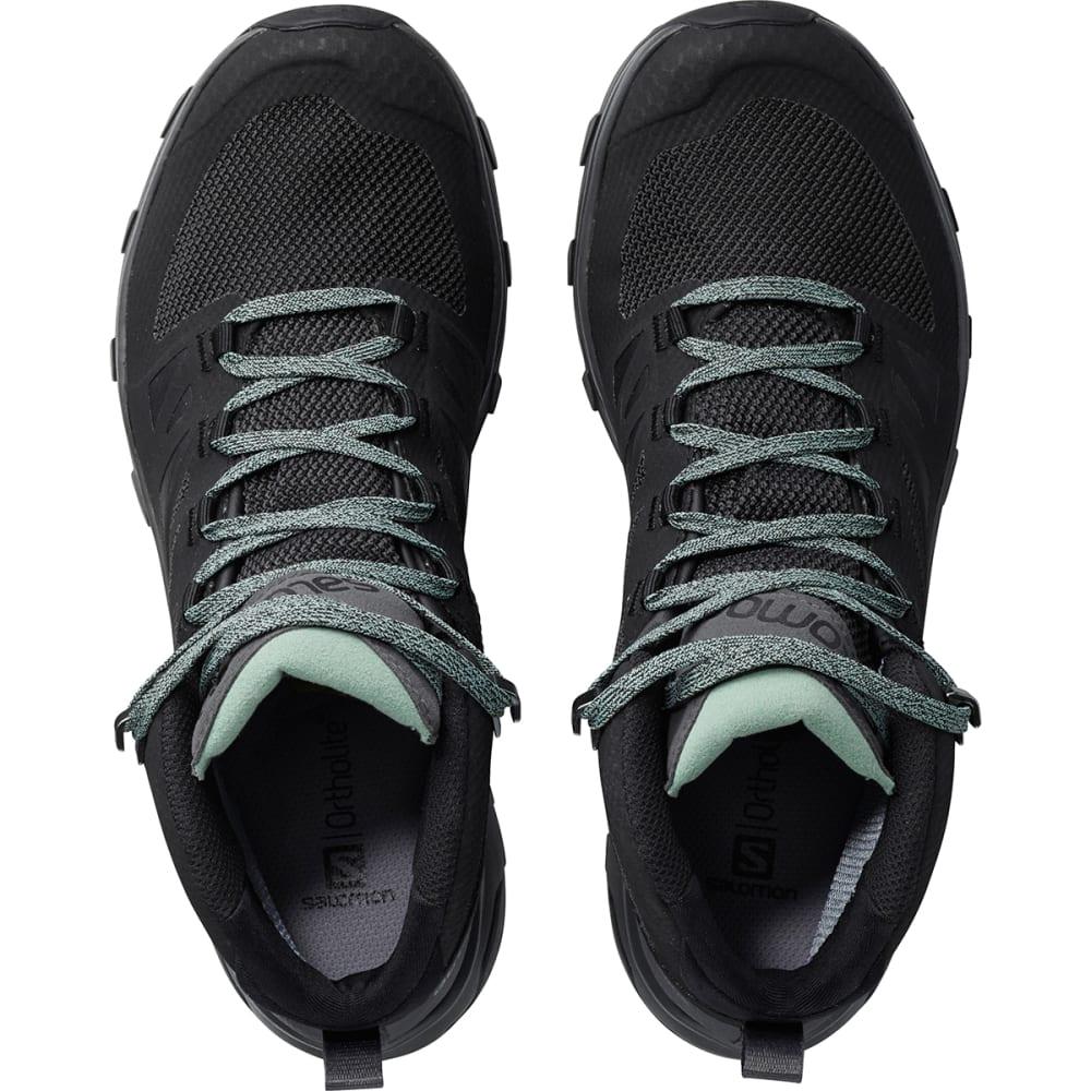 SALOMON Women's Outline Mid GTX Waterproof Hiking Boots - BLACK/MAGNER/GREEN