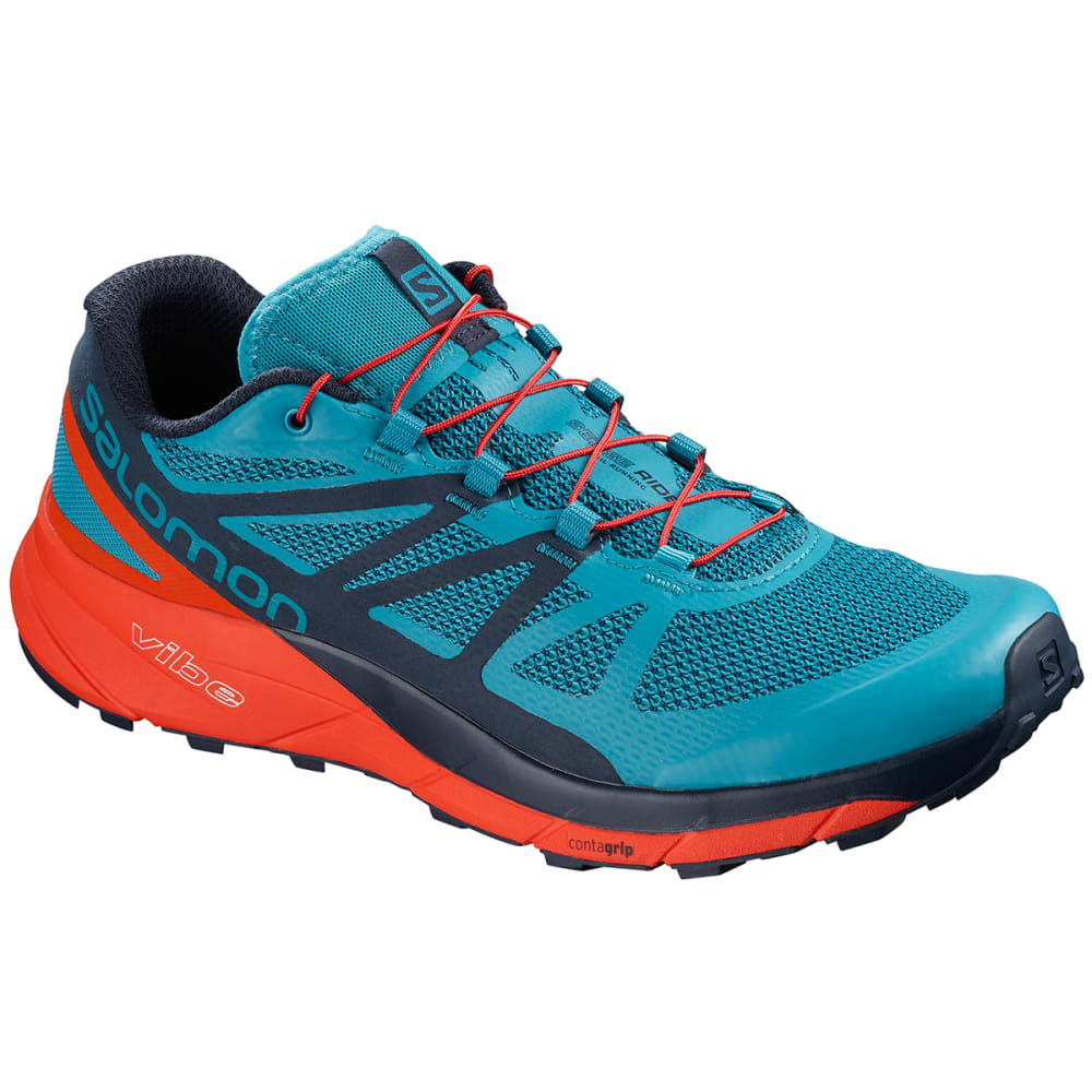 SALOMON Men's Sense Ride Trail Running Shoes - FJORD BLUE/CHERRY