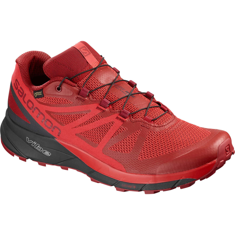 SALOMON Men's Sense Ride GTX Invisible Fit Waterproof Trail Running Shoes - RED DAHLIA/PHANTOM