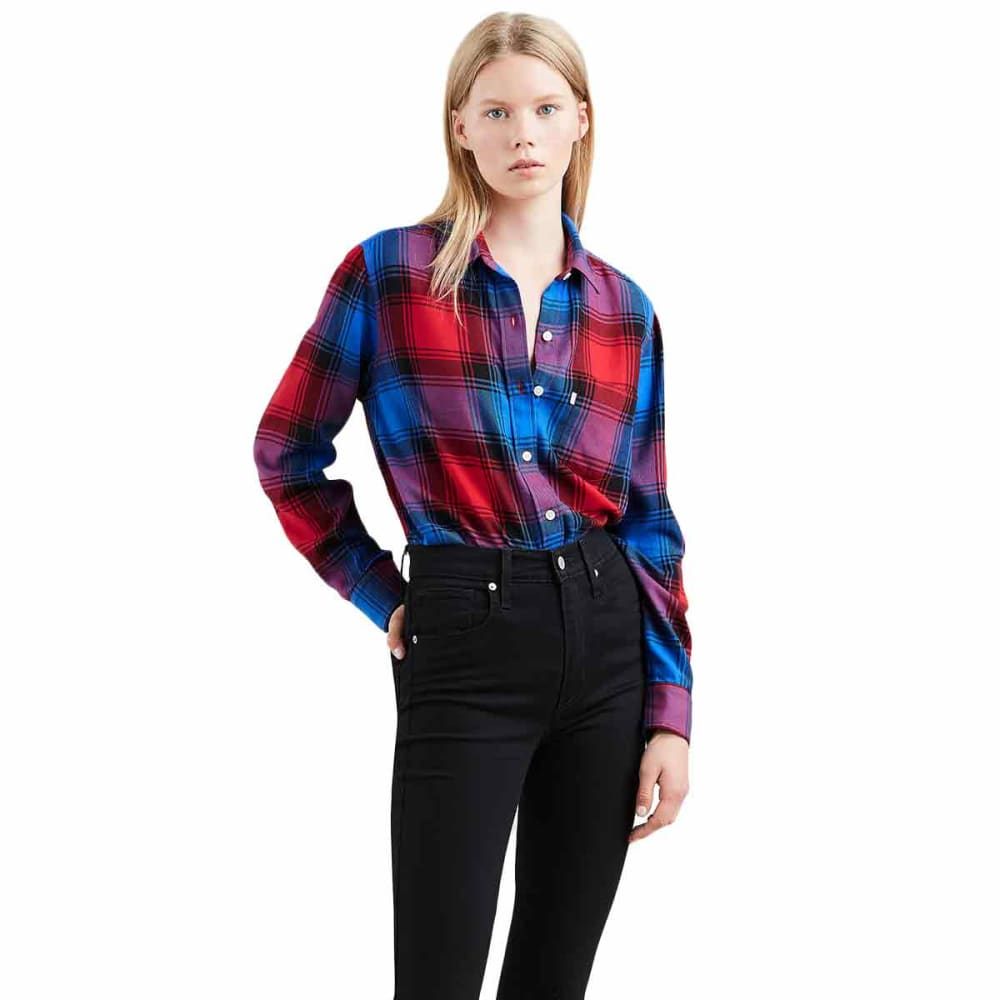 LEVI'S Women's Ultimate Boyfriend Long-Sleeve Shirt - 0019-CHINESE RED PLD