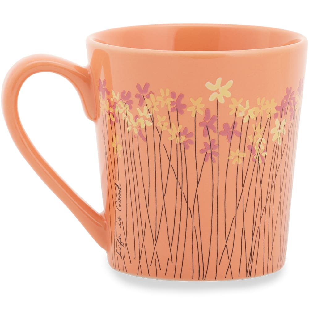 LIFE IS GOOD Wild Flower Bunches Everyday Mug - FRESH CORAL