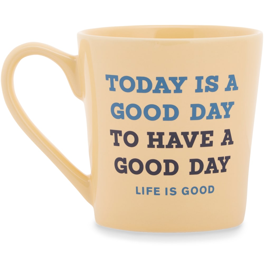 LIFE IS GOOD Good Day Today Everyday Mug - HAPPY YELLOW
