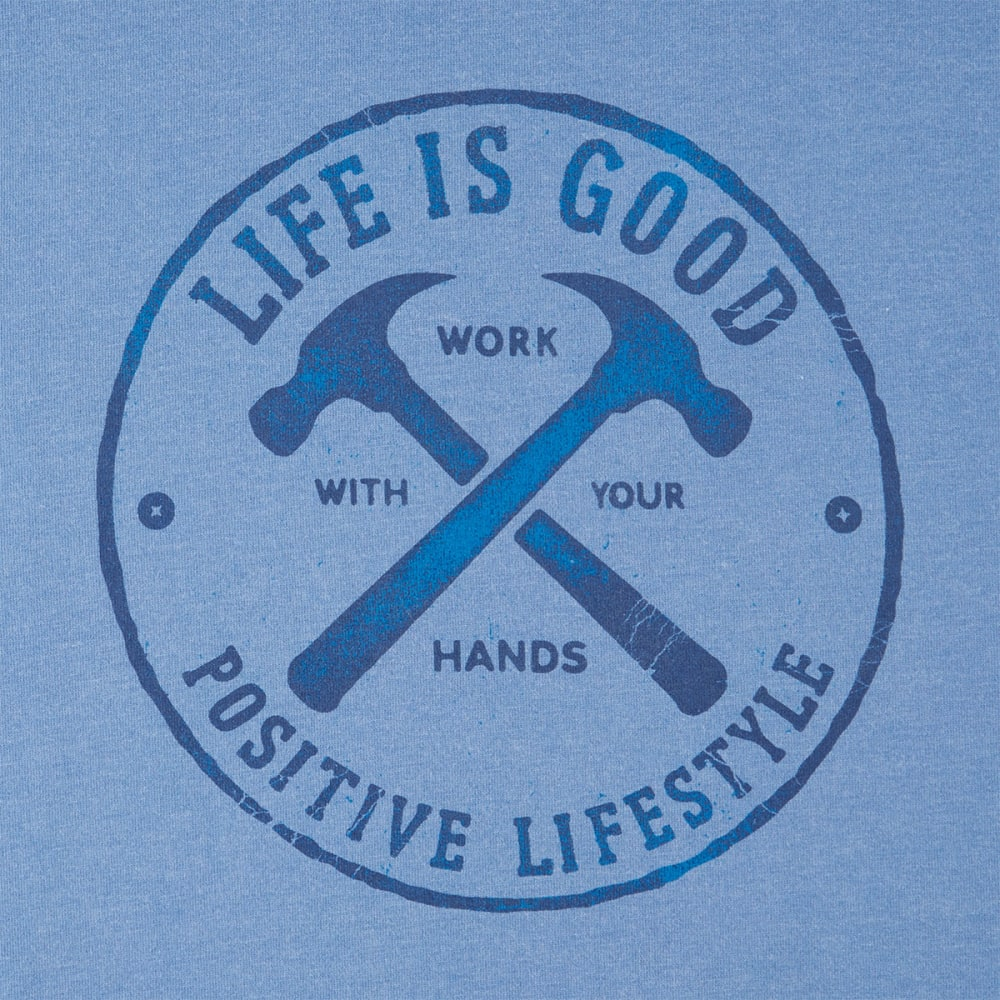 LIFE IS GOOD Men's Positive Lifestyle Hammers Crusher Long-Sleeve Tee - VINTAGE BLUE