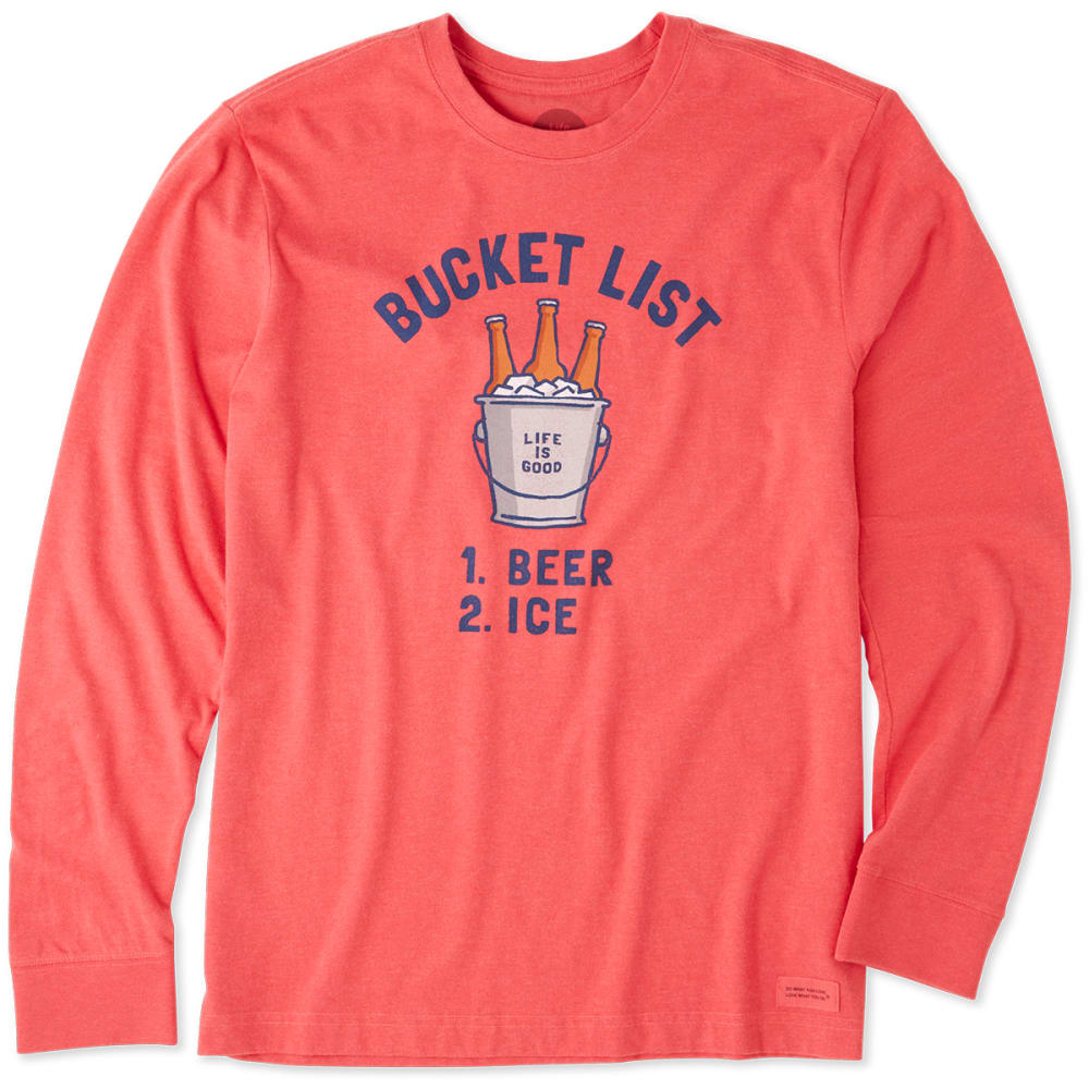 Life Is Good Men's Bucket List Beer Crusher Long-Sleeve Tee - Red 53960