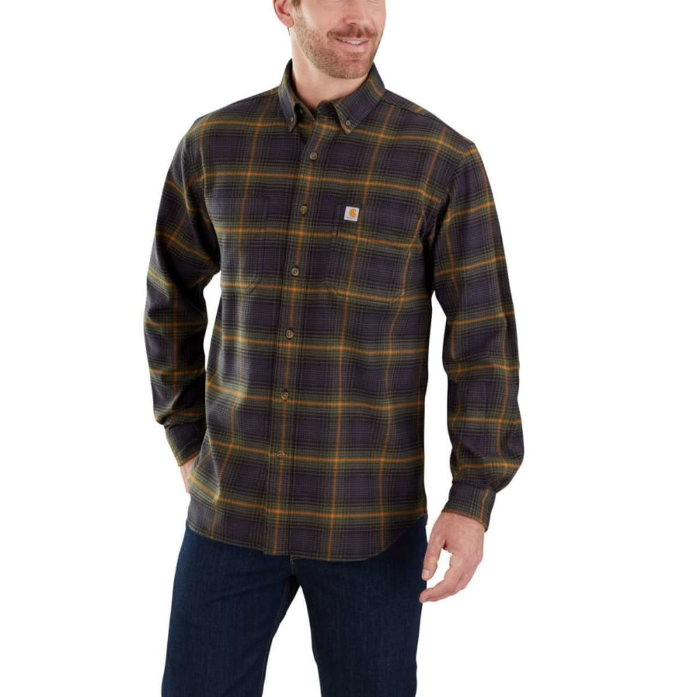 CARHARTT Men's Rugged Flex Hamilton Plaid Long-Sleeve Shirt - 301 ARMY GREEN