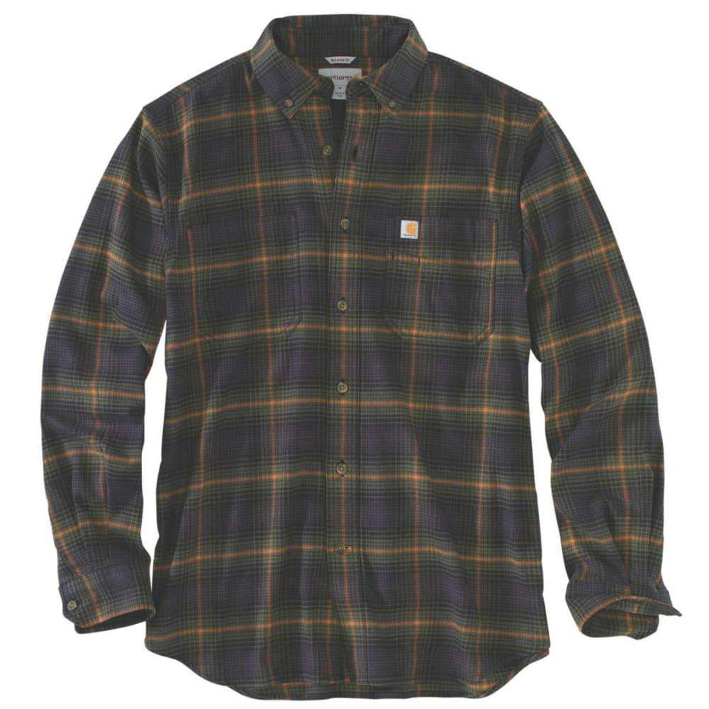 CARHARTT Men's Rugged Flex Hamilton Plaid Long-Sleeve Shirt - 301 ARMY GREEN