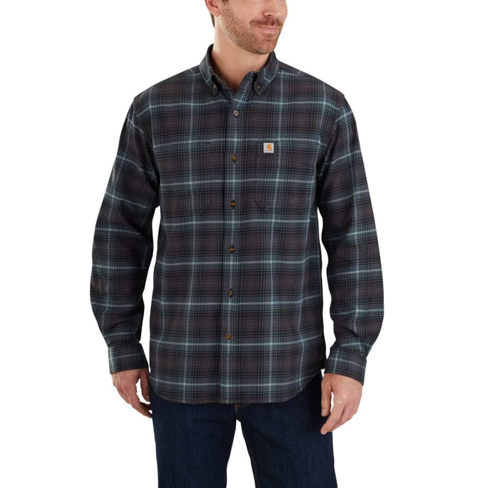 CARHARTT Men's Rugged Flex Hamilton Plaid Long-Sleeve Shirt - 433 DARK SLATE