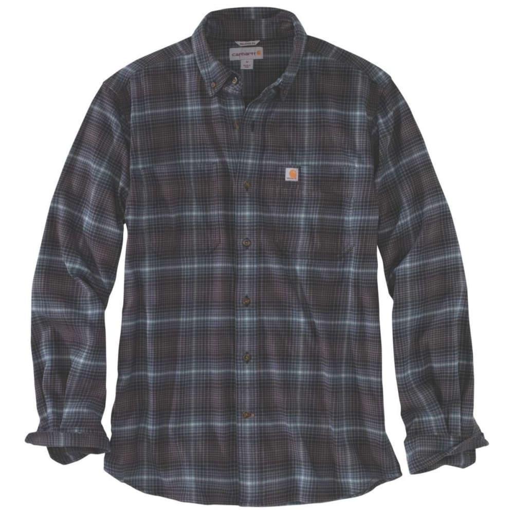 CARHARTT Men's Rugged Flex Hamilton Plaid Long-Sleeve Shirt - 433 DARK SLATE