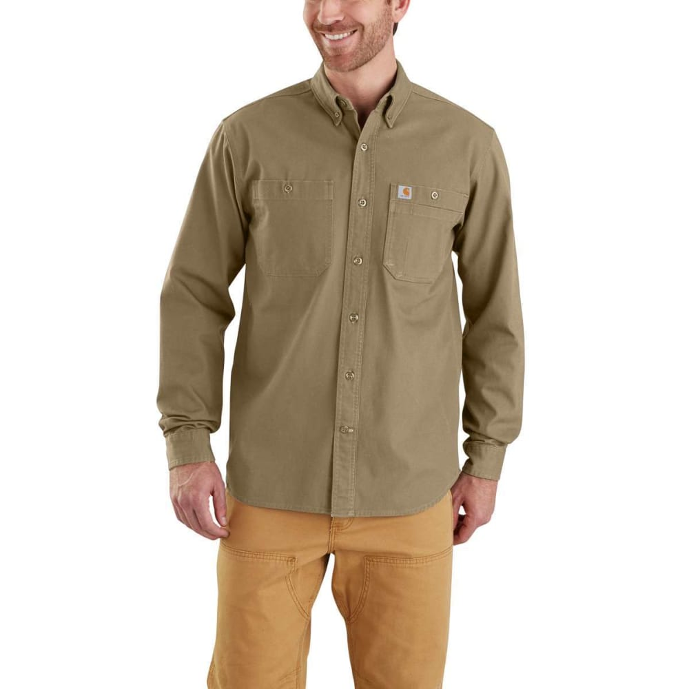 CARHARTT Men's Rugged Flex Rigby Long-Sleeve Work Shirt - 253 DRK KHAKI