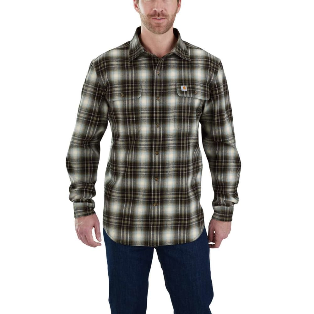 CARHARTT Men's Hubbard Plaid Long-Sleeve Flannel Shirt - 391 BRT OLIVE