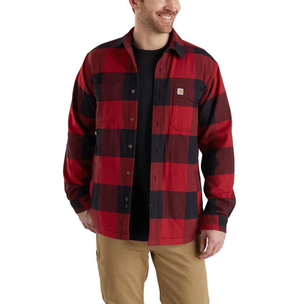 CARHARTT Men's Rugged Flex Hamilton Fleece-Lined Shirt Jacket - 608 DK CRIMSON